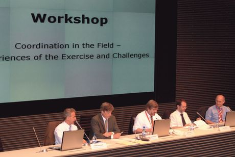 "Das Podium des EULUX-Workshops ""Coordination in the Field"": (v.l.n.r.) Peter Simoncelli, Franz-Josef Molitor, Michel Feider, Peter Billing, Alois Hirschmugl"