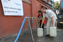 After the earthquake, THW provided the Nepalese population with drinking water.