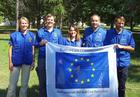 Das European Union Civil Protection Team (EUCPT) in Skopje: (von links nach rechts) Anna Nordlander (technical expert), Pieter Glerum (team leader), Maja Kamceva (liaison officer), Sebastian Richter (technical expert), Borut Horvat (coordination expert).