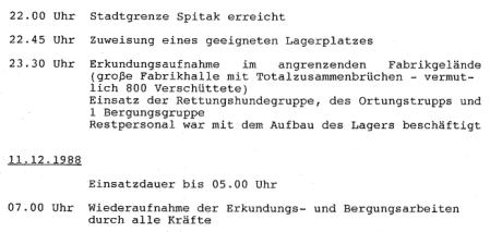 Ausschnitt aus dem Bericht des Schnell-Einsatz-Einheit Bergung Ausland (SEEBA).