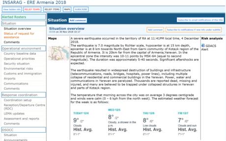 Screenshot des virtuellen Vor-Ort-Einsatz-Koordinierungszentrum der Vereinten Nationen (englisch: On-site Operations Coordination Centre, kurz OSOCC).