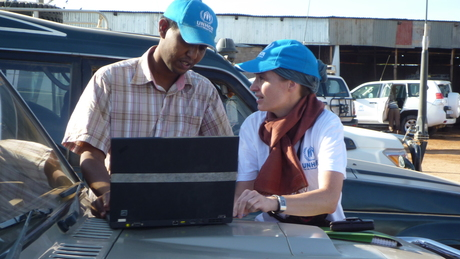The basis for the relief measures is the UNHCR-territory; there, THW-volunteers operate a garage.