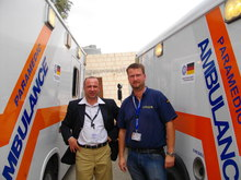 JHAS-Vice-President, Mr Qais Jaradat, and THW-project coordinator, Mr Andreas Heinrich, during the handing over of the ambulance vehicles.
