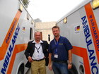 JHAS-Vice-President, Mr Qais Jaradat, and THW-project coordinator, Mr Andreas Heinrich, during the handing over of the ambulance vehicles. (show image)