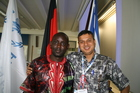 An international family: Moses Namanya from Uganda, Danish Refugee Council, together with Rajendra Aryal from Nepal, Senior Programm Advisor of gFSC. (show image)