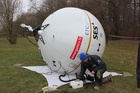 Inflatable satellite devices speed up the construction.
